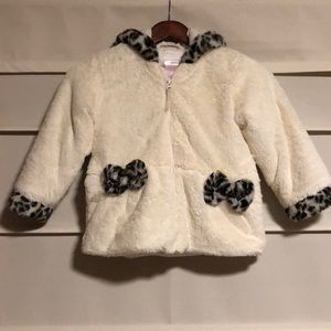Girls faux fur hooded winter coat